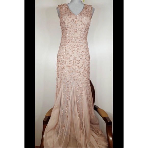 Aidan Mattox Dresses | Light Pink Beaded Gown | Poshmark